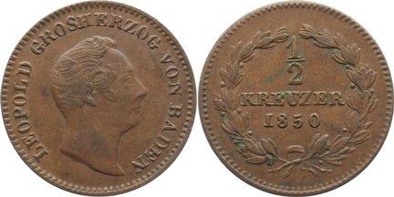 Cu 1/2 Kreuzer 1850 Baden-Durlach Leopold 1830-1852. fast vorzüglich