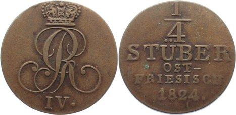 Cu 1/4 Stüber 1 1824 Braunschweig-Calenberg-Hannover, ab 1692 Kftm. Han Georg IV. 1820-1830. sehr schön