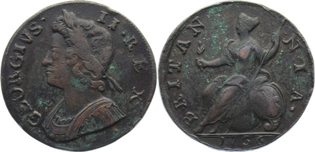 Cu Halfpenny 1736 Großbritannien George II. 1727-1760. Belagreste, kl. Randfehler, sehr schön