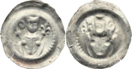 Brakteat 1236-1241 Halberstadt, Bistum Ludolf I. 1236-1241. selten, kl. Einriß, sehr schön