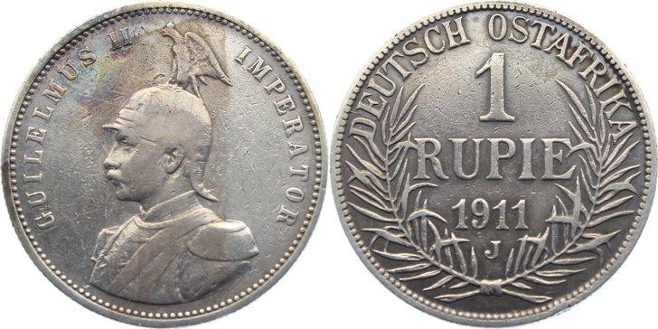 Rupie 1911 J Deutsch Ostafrika kl. Randfehler, sehr schön