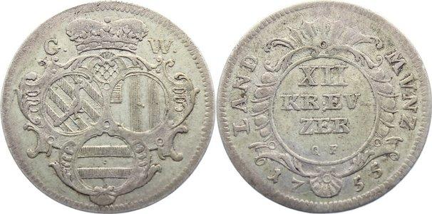 12 Kreuzer 1755 GW Wied-Neuwied Johann Friedrich Alexander 1737-1791. sehr schön / fast sehr schön