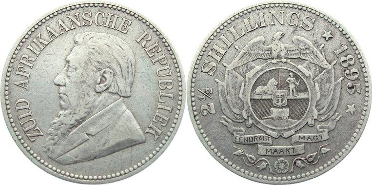 2 1/2 Shillings 1895 Südafrika sehr schön