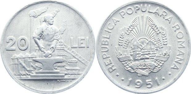 20 Lei 1951 Rumänien Volksrepublik 1947-1965. vorzüglich - prägefrisch