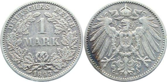 1 Mark 1893 F Kleinmünzen sehr schön