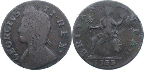Cu Farthing 1733 Großbritannien George II. 1727-1760. schön +