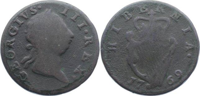 Cu Halfpenny 1769 Irland George III. 1760-1820. schön