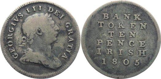 Bank Token zu 10 Pence 1805 Irland George III. 1760-1820. schön - sehr schön