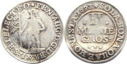 2 Mariengroschen 1693 Braunschweig-Calenberg-Hannover, ab 1692 Kftm. Han Ernst August 1679-1698. kl. Bug, fast sehr schön