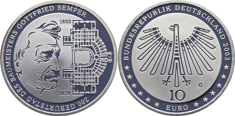 10 Euro 2003 G Gedenkmünzen Polierte Platte