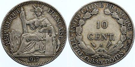 10 Centimes 1917 A Französisch Indochina sehr schön