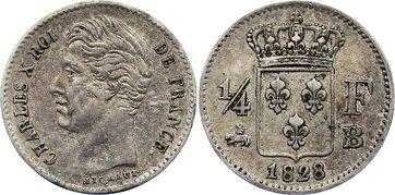 1/4 Franc 1828 B Frankreich Karl X. 1824-1830. sehr schön
