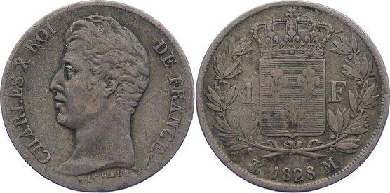 Franc 1828 M Frankreich Karl X. 1824-1830. fast sehr schön
