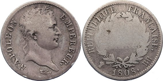 1 Franc 1808 BB Frankreich Napoleon I. 1804-1814, 1815. schön