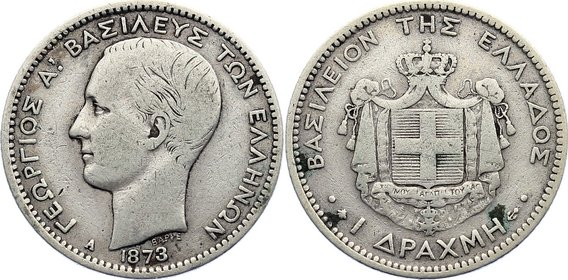 1 Drachme 1873 A Griechenland George I. 1863-1913. fast sehr schön