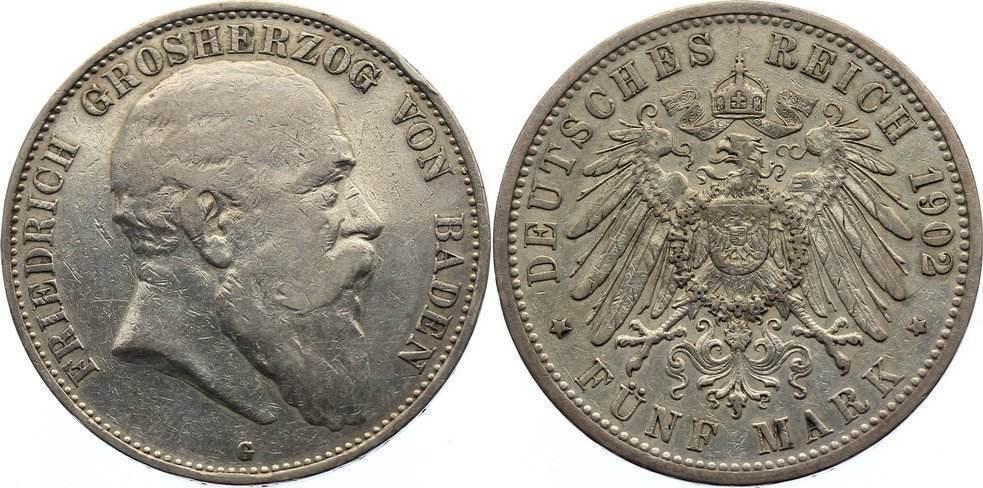 5 Mark 1902 G Baden Friedrich I. 1856-1907. kl. Randfehler, sehr schön