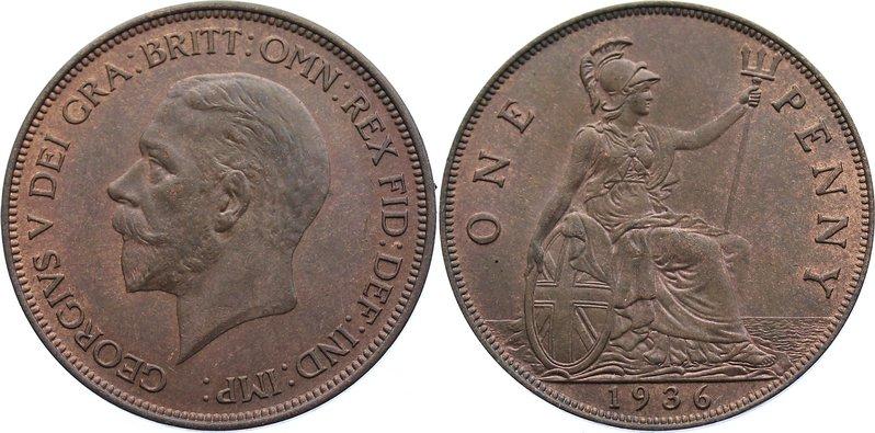 Cu Penny 1936 Großbritannien George V. 1910-1936. vorzüglich +