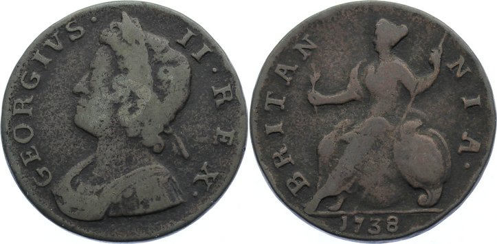 Cu Halfpenny 1738 Großbritannien George II. 1727-1760. schön