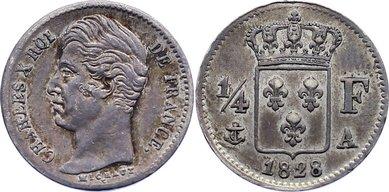 1/4 Franc 1828 A Frankreich Karl X. 1824-1830. sehr schön +