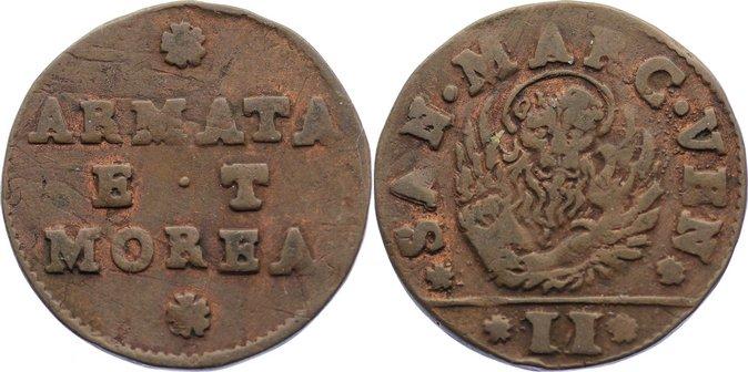 Cu Gazetta zu 2 Soldini 1688-1694 Italien-Venedig Francesco Morosini 1688-1694. kl. Randfehler, sehr schön