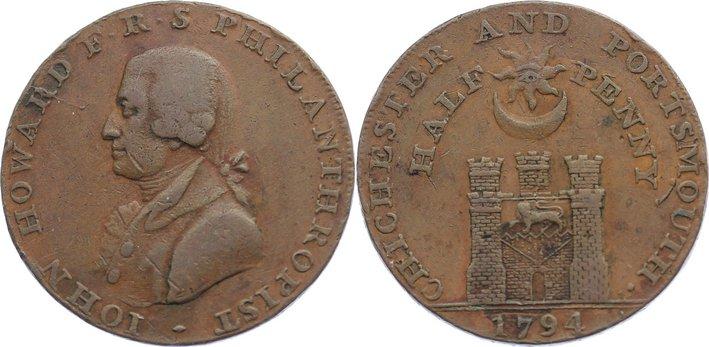 Cu 1/2 Penny 1794 Großbritannien Token. sehr schön
