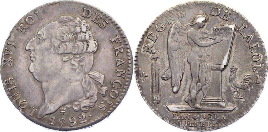 Écu de 6 livres 1 1792 I Frankreich Ludwig XVI. 1774-1793. leicht justiert, sehr schön +