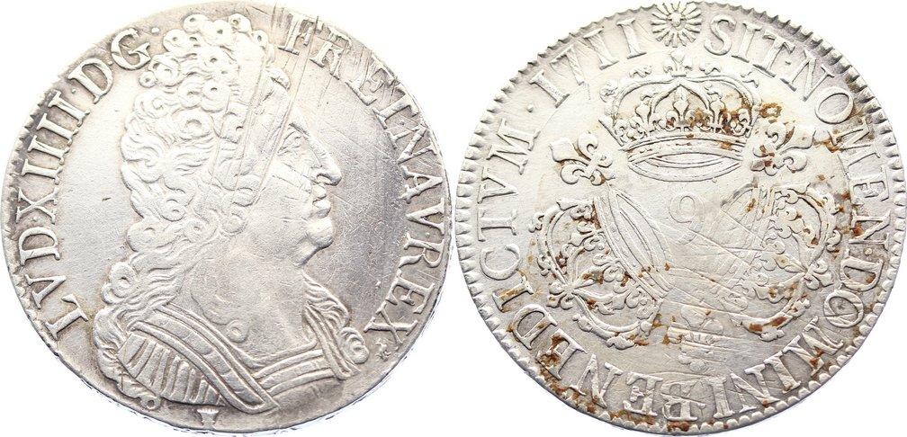 Écu aux trois couronnes 1 1711 Frankreich Ludwig XIV. 1643-1715. justiert, sehr schön