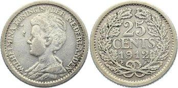 25 Cents 1912 Niederlande-Königreich Wilhelmina I. 1890-1948. Avers kl. Schrötlingsfehler, sehr schön