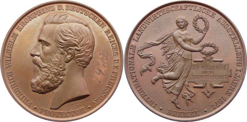 Bronzene Prämienmedaille 1 1874 Bremen, Stadt Tuschezahl, vorzüglich+