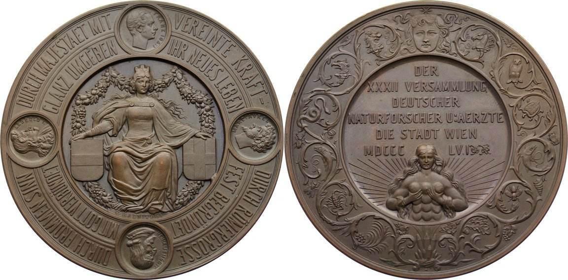 Bronzemedaille 1856 Haus Habsburg Franz Joseph I. 1848-1916. vorzüglich - Stempelglanz