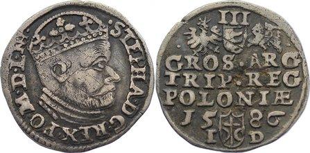 3 Gröscher 1 1586 NH Polen Stephan Báthory 1576-1586. selten, Kratzer, sehr schön