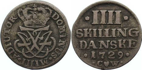4 Skilling 1729 CW Dänemark Friedrich IV. 1699-1730. kl. Kratzer, sehr schön