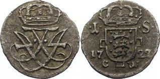 1 Skilling 1722 CW Dänemark Friedrich IV. 1699-1730. leicht rauh, sehr schön