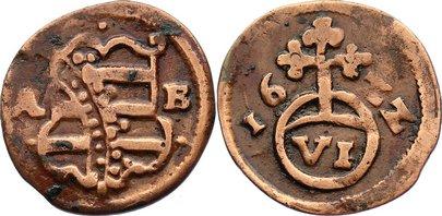 Kipper Cu 6 Pfennig 1622 Sachsen-Altenburg Johann Philipp und seine drei Brüder 1603-1625. zaponiert, sehr schön