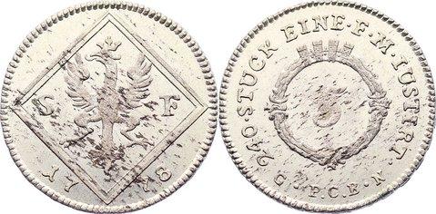 5 Kreuzer 1778 Frankfurt, Stadt kl. Schrötlingsfehler, vorzüglich - Stempelglanz