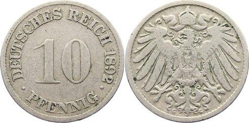 10 Pfennig 1892 G Kleinmünzen fast sehr schön