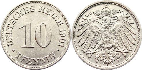 10 Pfennig 1901 D Kleinmünzen zaponiert, vorzüglich - Stempelglanz