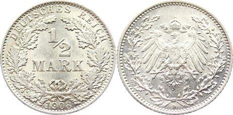 1/2 Mark 1908 D Kleinmünzen vorzüglich - Stempelglanz