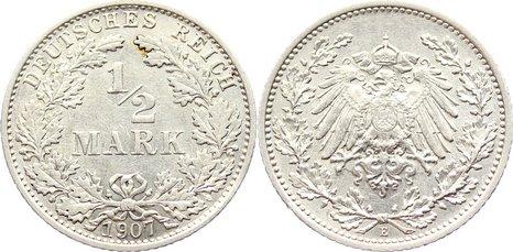 1/2 Mark 1907 E Kleinmünzen fast vorzüglich / vorzüglich