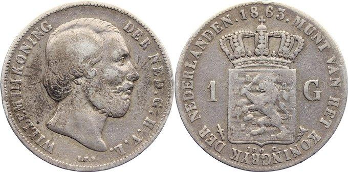 Gulden 1863 Niederlande-Königreich Wilhelm III. 1849-1890. kl. Randfehler, fast sehr schön