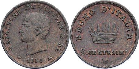Cu 3 Centesimi 1811 M Italien-Königreich (unter Napoleon) Napoleon I. 1804-1814. min. Randfehler, sehr schön +
