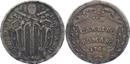 Carlino 1748 AN Italien-Kirchenstaat Benedict XIV. 1740-1758. sehr schön