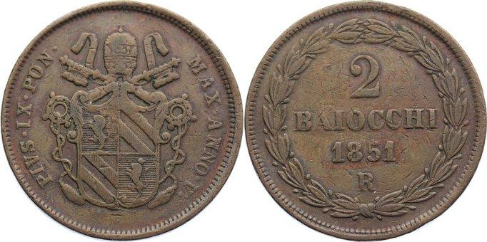 Cu 2 Baiocchi 1851 AN Italien-Kirchenstaat Pius IX. 1846-1878. sehr schön