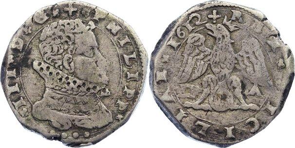 4 Tari 1612 DF Italien-Sizilien Filippo III. 1598-1621. fast sehr schön