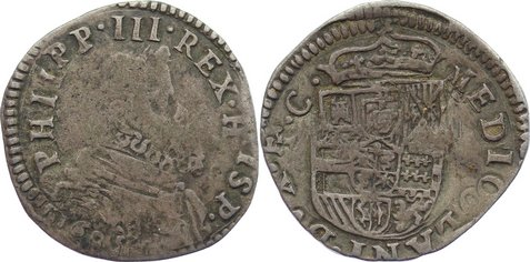 Denaro da 5 Soldi 1605 Italien-Mailand Philipp III. von Spanien 1598-1621. Revers Doppelschlag, fast sehr schön