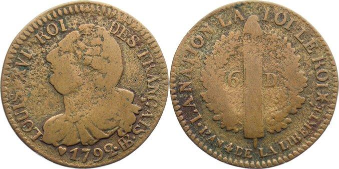 Cu 6 Deniers 1792 BB Frankreich Ludwig XVI. 1774-1793. schön