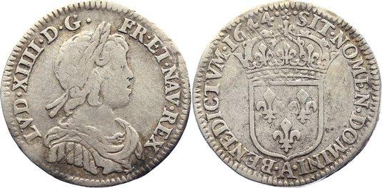 1/12 Écu à la mèche courte 164 1644 A Frankreich Ludwig XIV. 1643-1715. fast sehr schön