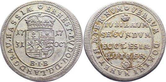 10 Kreuzer 1717 Hessen-Darmstadt Ernst Ludwig 1678-1739. sehr schön +