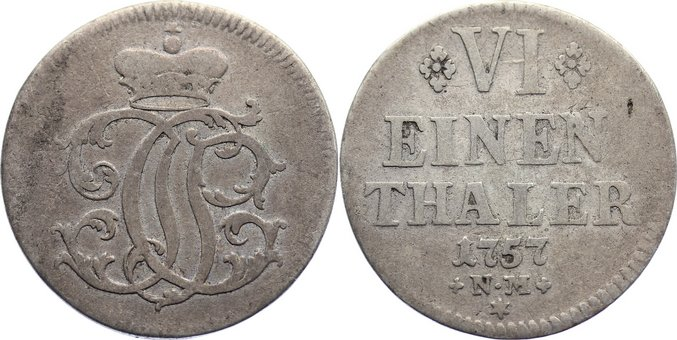 1/6 Taler 1757 NM Trier, Erzbistum Johann Philipp von Walderdorff 1756-1768. fast sehr schön