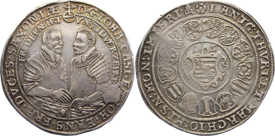Taler 1598 B Sachsen-Coburg-Eisenach Johann Casimir und Johann Ernst 1572-1633. kl. Schrötlingsfehler, sehr schön +